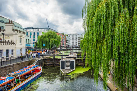 London, U.K, Aug 2019, view of the Hampstead Road Locks on the Regents Canal in Camden Town