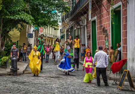 Havana, Cuba, July 2019, street artists in Calle Mercaderes in the oldest part of the city Editoriali