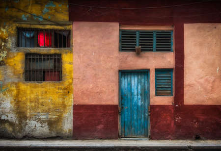 Havana, Cuba, July 2019, close up of a colorful house wall in the old part of the city