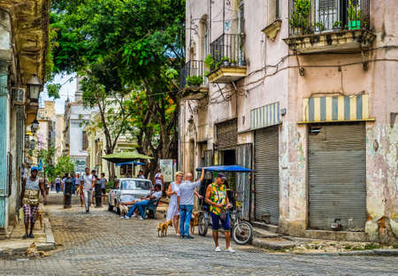 Havana, Cuba, July 2019, urban scene in Calle Oficios in the oldest part of the city