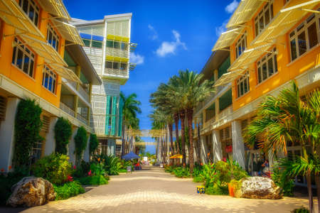 Grand Cayman, Cayman Islands, April 2018, The Paseo in Camana Bay a modern waterfront town in the Caribbean