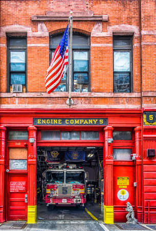 New York City, U.S.A, May 2018, the FDNY Engine 5 fire station in downtown Manhattan