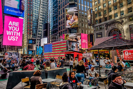 New York City, USA, May 2018, urban scene in Times Square, Manhattan