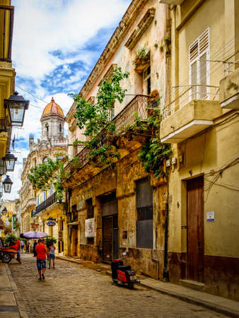 Havana, Cuba, July 2019, urban scene in San Ignacio street