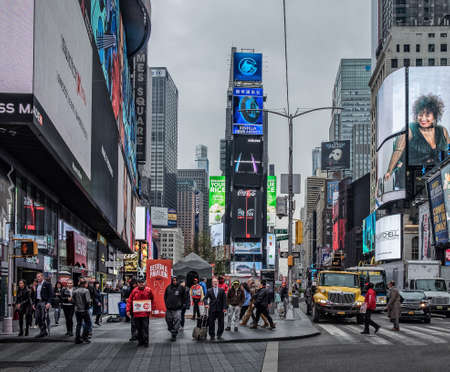 New York City, USA, May 2019, urban scene in Times Square, Manhattan