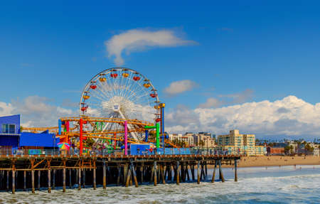 Los Angeles, USA, March 2019, big wheel in Pacific Park on Santa Monica Pier