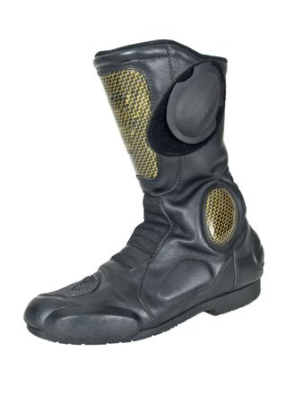Motorcycle boot on white background photo