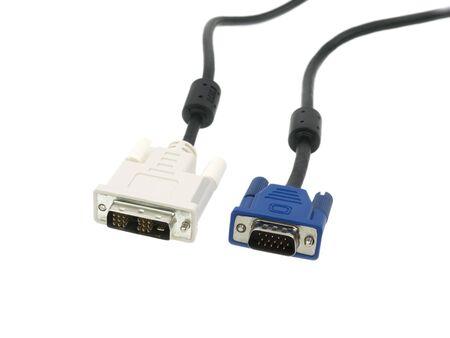 vga: Cable VGA y DVI aislado sobre fondo blanco  Foto de archivo