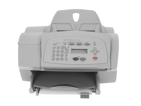 Fax printer isolated on white background Stock Photo