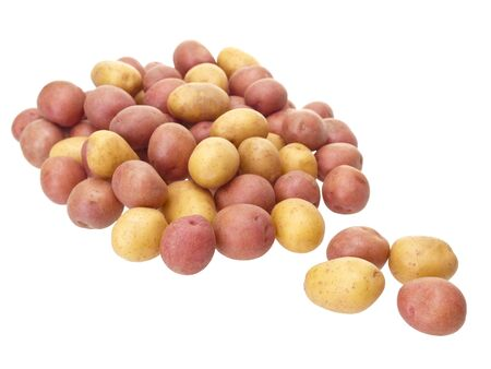 starchy food: Little patatoes on pure white background