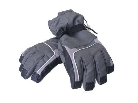 Pair of winter ski gloves isolated on white background 版權商用圖片