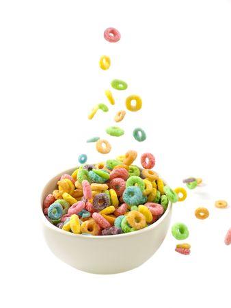 cereals: Verter desayuno de cereales s�lo Foto de archivo