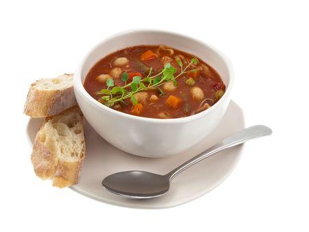 Soup bowl global view Stock Photo