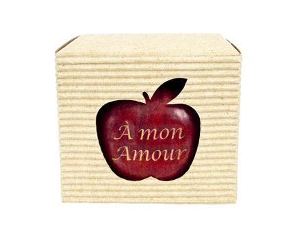 Boîte de cartouche avec vue de face de pomme Banque d'images - 6501581