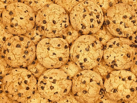 indulgere: Chocolate chip cookies wallpaper sfondo Archivio Fotografico