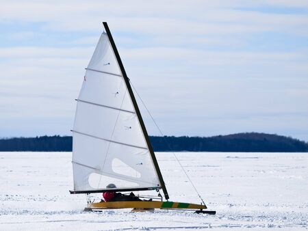 Ice sailing on the frozen lake