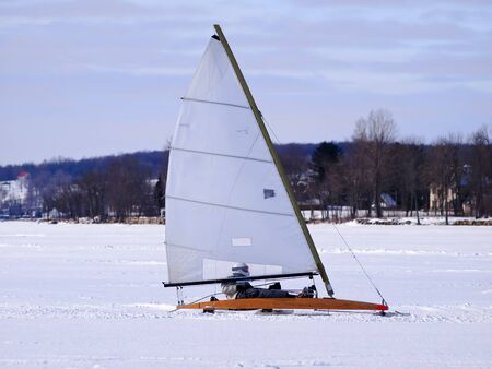 wintersport: Ice sailing on the frozen lake