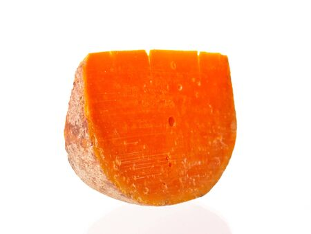 Handmaid farm cheese slice on pure white background photo