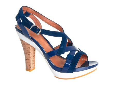 Stylish blue leather sandals on pure white background photo