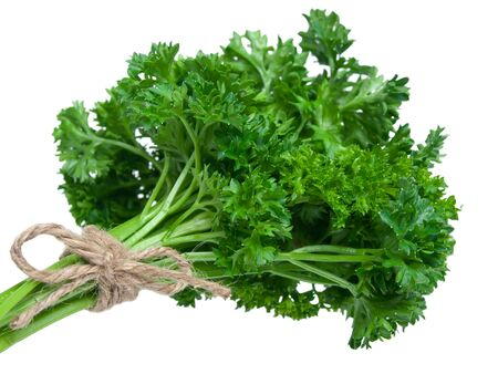 Fresh parsley bouquet on oure white background