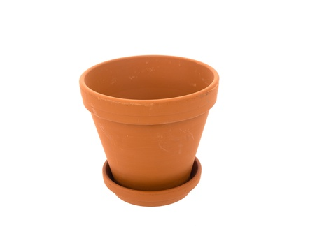 Empty ceramic flowerpot with dish on a white background