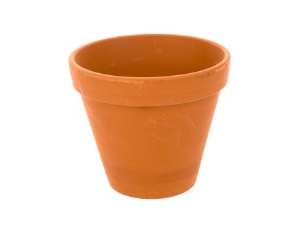 Empty ceramic flowerpot on a white background