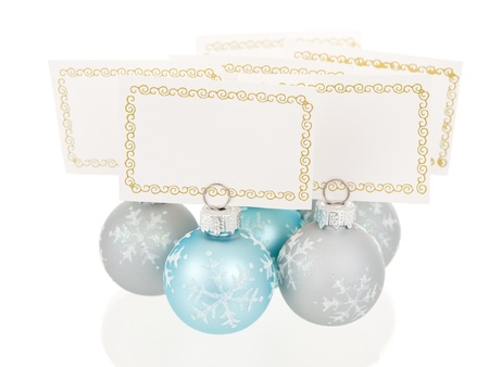 Christmas place cards holders in ball shape group view Stock Photo - 8519557