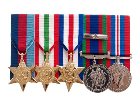 World War II Canadian medals on pure white background