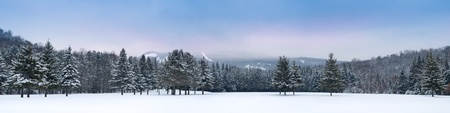Panoramic view of Mont-Tremblant south moutain side Stock Photo