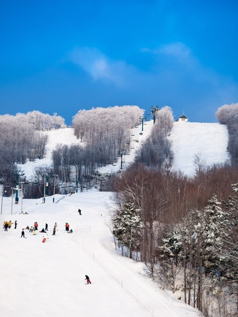 Skiers general view at Mount-Tremblant Banco de Imagens
