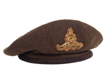 World War II Canadian soldier beret 3/4 view on pure white background