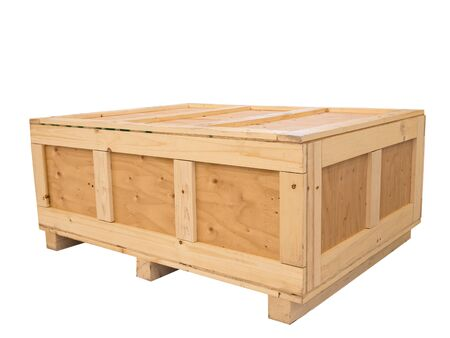 Big cargo wooden crate isolated on pure white background