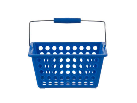 front view: Blue plastic basket front view on pure white background