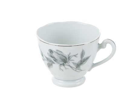 highend: Delicate vintage porcelain tea cup on pure white background