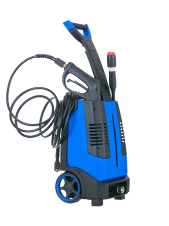 Blue pressure portable washer with inserted gun on pure white background Stock Photo