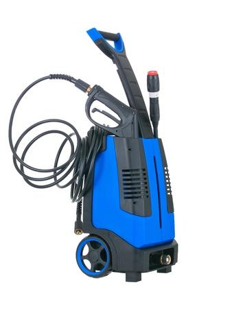 Lavadora portátil de presión azul con pistola insertado sobre fondo blanco puro Foto de archivo - 9201559