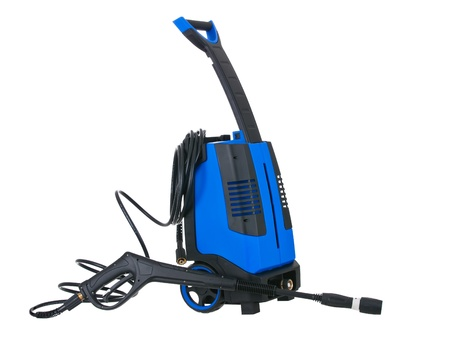Blue pressure portable washer with hose on pure white background photo