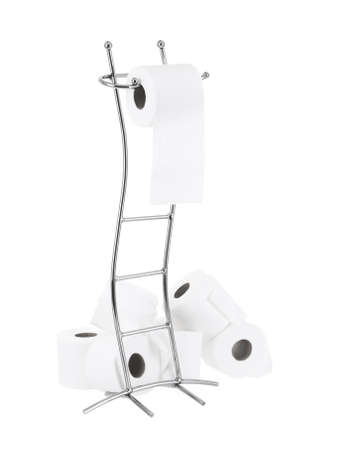 Modern toilet paper stand on pure white background photo