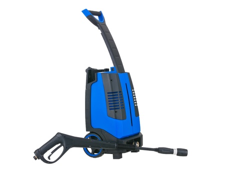 Blue pressure portable washer gun down on pure white background photo