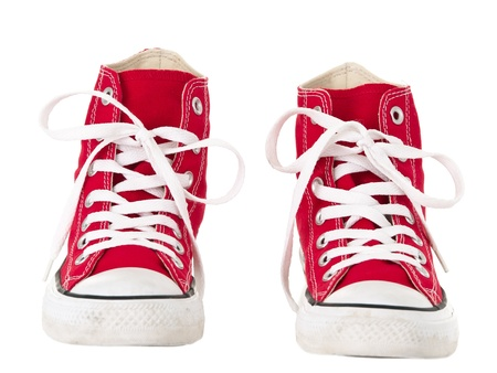 Vintage red shoes front view on pure white background 版權商用圖片 - 9357453