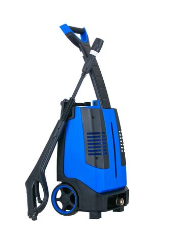 Blue pressure portable washer side view on pure white background