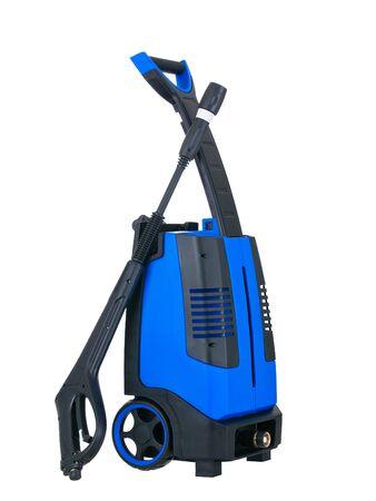 machine � laver: Vue lat�rale laveuse portable de pression bleu sur fond blanc pur Banque d'images