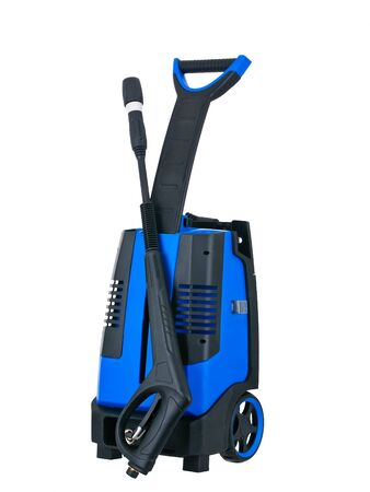 Blue pressure portable washer front view on pure white background