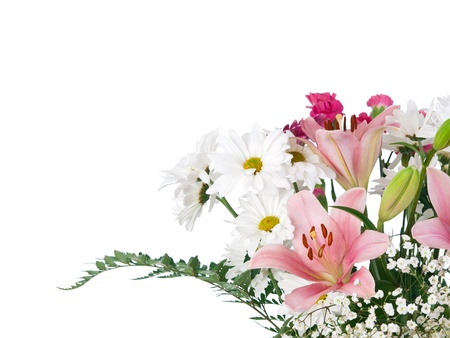 esquineros de flores: Ramo de flores de colores suaves sobre fondo blanco puro Foto de archivo