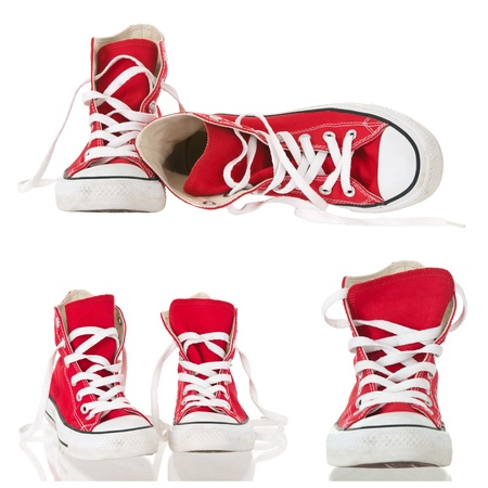Vintage red sneakers collage isolated on white background