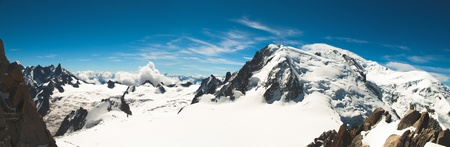 massif: Panoramic view from the top of Mont-Blanc in summer Stock Photo