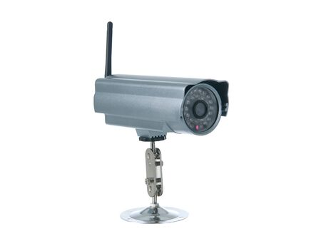 Wireless surveillance camera isolated on white background photo