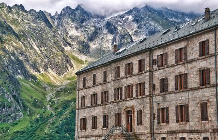 glace: Hotel view in the mer de glace  French Alps (HDR) Editorial
