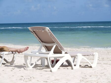 Chair on the beach near with Caribbean sea Banco de Imagens