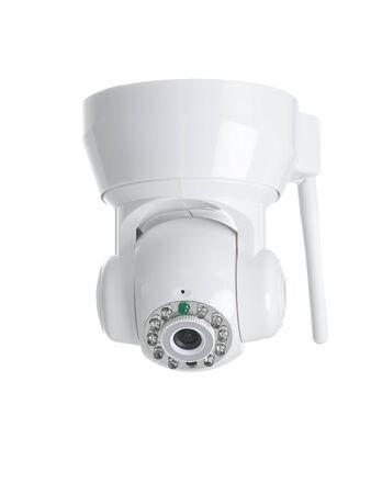nightvision: Wireless surveillance camera isolated on white background